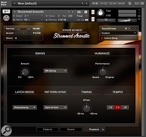 The Playback page gives you additional control over the performance options of the instrument.