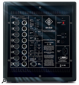 The KH810 subwoofer has enough inputs and outputs to accommodate a 7.1-speaker surround-sound setup, and the controls allow for comprehensive monitor-system configuration.