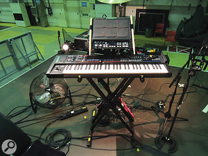 Phil Cunningham's keyboard rig.