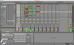 The Launchpad-controlling part of the Session, and a  Drum Rack's pads and macros.