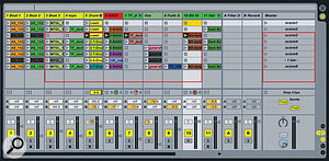 Using Live with the Launchpad: the red rectangle denotes the Clips and Scenes on which the controller is focused.