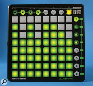The Launchpad in Mixer mode. Each vertical column represents achannel fader.