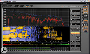 Visualizer provides a comprehensive set of functions with some unusual options, such as the Mid/Side spectrum analysis and stereo spectrogram, shown here above a pair of more traditional correlation and level meters.