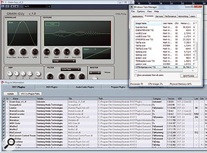 Here you can see a 32-bit VST plug-in running in Nuendo 4 on the 64-bit version of Windows Vista. Note that the plug-in in question, Grain Guy, identifies itself as a 'win32' plug-in under the SDK column of Nuendo's Plug-in Information window. Note also in the Windows Task Manager that there's a process running called VSTBridgeApp.exe, which you can see is a 32-bit process because of the *32 appendage. You can also see that the Nuendo 4 process, at the top of the Processes list, really is running as a 64-bit process.