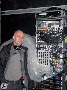 Ian Painter poses with the Stagetec Nexus digital stage box used by the BBC's OB teams.
