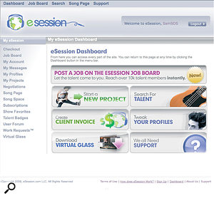 The Dashboard is the hub of the eSession web site, providing access to your messaging services, the Song Page, and the search facilities.