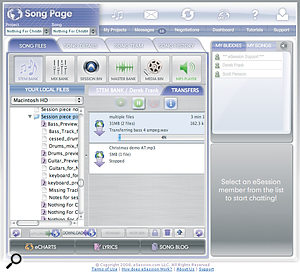 The eSession Song Page is where the nuts and bolts of your session are handled, including the transfer of audio and MIDI files and song information.