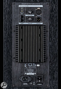 Despite its DSP, the DBS8 offers only an analogue XLR input. The back panel also houses alarge heatsink, and controls for setting the input level and selecting aDSP preset.