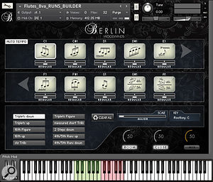 Originally designed for Orchestral String Runs, the Runs Builder window has 10 slots into which you load the phrase types you need from the menu below. The green keyswitches select the key of the music, while the pink keys switch between the 10 phrases; you can also select the type of scale (major, minor, whole tone, and so oon) using the small slider positioned above the Room and Close mixer settings. The phrases are mapped across the white keys to the right of the pink set, appearing only on the scale steps that apply to the chosen key and scale.