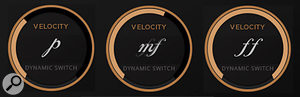 The circular display in the centre of the Kontakt user interface shows the currently active velocity layer.