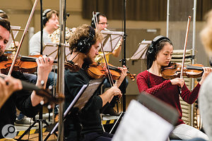 Violin and horn players pictured at a Berlin Orchestra Inspire sampling session.