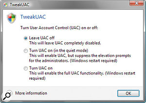You don't have to forgo the extra security of User Account Control to remove those annoying pop–up warnings if you use this third–party TweakUAC utility.