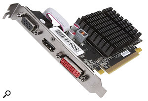 A modest, passively cooled, ATI Radeon HD5450 graphics card with 512MB of 64‑bit DDR2 RAM, such as this model from XFX, is by far the most popular option for audio PCs.