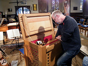 Great attention was paid to tuning the period instruments. This is the small pipe organ that was used to double the harpsichord for the St John Passion.