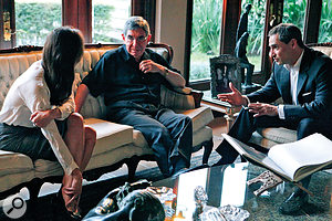 Price Of Kings directors Rich Symons (right) and Joanna Natasegara talk to former Costa Rican president Oscar Arias in preparation for their interviews.