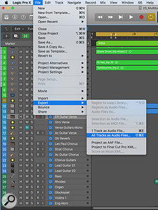 Logic Pro offers several export options; unless you have a lot of experience with AAF files, this is usually the safest choice.