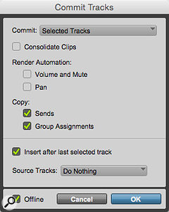 Screen 1: The new Commit Tracks dialogue in Pro Tools 12.3 is accessed by right-clicking a  track name.