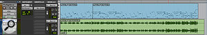 Screen 2: The results of choosing different options within the Commit Tracks dialogue. In the first, third and fourth examples, I've chosen to commit the track rather than Selected Clips; as you can see, Pro Tools has made the rendered clips longer than the source MIDI clips, so as to include the decay of the last piano notes. In the first, second and fourth, I've chosen to consolidate the rendered clips, so Pro Tools has rendered a  single clip for the entire track. And in the first example only, I've chosen Copy Sends.