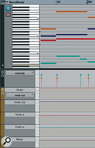 When editing multiple tracks, all controllers except velocity are displayed using a separate lane for each track.