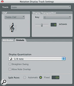 The Notation Display Track Settings dialogue allows you to determine how your score will be displayed, andwhether individual tracks should follow global settings or not.