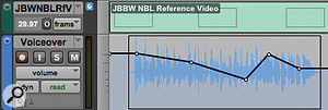 Screen 1: Automation in Pro Tools can be displayed either over the top of the waveform view (top) or in a  separate lane (above).
