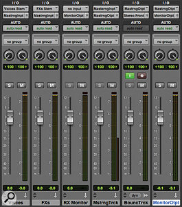 Screen 1: A simple monitor control setup: the two stems (left) feed the Mastering Track Aux input, which hosts any master bus processing. This, in turn, feeds an audio track that can be used to record bounces, and the Monitor Output Aux, which feeds studio monitors.
