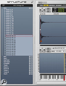 A factory sound from Structure: multiple kick‑drum samples are assigned to different velocity levels,as shown on the 'ladder' abovethe keyboard.