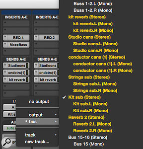 Screen 3: My individual drum tracks are all feeding a  bus named 'Kit Sub'. Routing this to an aux track lets me control the whole kit level with one fader.