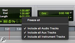 Screen 3: Right-clicking the new Global Freeze icon allows you to freeze all tracks or your selection of track types.