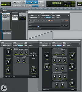 In the setup shown in this screenshot, the Signal Generator and AIR Vintage Filter plug-ins combine to create a  filtered noise rise.