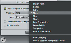 Subfolders within the Templates folder will appear in a drop-down list of 'categories'.