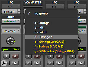 A VCA Master track can be assigned to any pre-existing Mix Group.