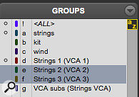 The Groups list in the Mix and Edit windows tells you which groups have VCA Masters assigned to them.