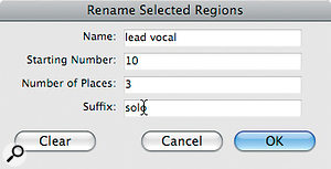 Renaming multiple related Regions is easy, thanks to the Rename Selected Regions window.