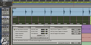 With triggers 'collected' from both kick and snare tracks, Beat Detective now has enough information to accurately generate a tempo map for the selection: note the tempo change markers that have appeared in the rulers.