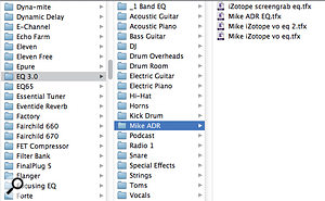 Presets for an individual plug-in can be categorised using folders, which is helpful when you need to store a lot of settings for different purposes.
