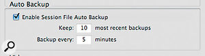 Pro Tools saves your chosen number of automatic backups in the Session File Backups folder.