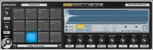 A typical Drum track, with a  step sequencer (above) and pad interface (below). The waveform editor shows the sample assigned to the pad selected for editing.