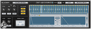 The basics of a  Slicer track: each beat within a  loop is assigned to a  separate MIDI note (centre), with the details of how it is chopped up edited in the Slicer Editor (bottom).