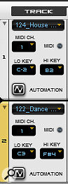 It's useful to assign different tracks to different MIDI note ranges or channels so that they can be triggered independently.