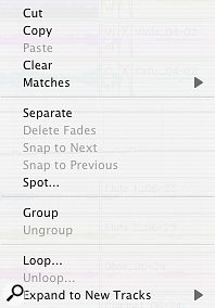 Right-clicking a Region in the Edit Window brings up a number of familiar options, plus one or two less obvious ones.