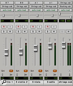 Rather than using group channels, an alternative approach is to create a  mix group (in this case 'f') for each set of four tracks.