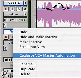 'Coalescing' the automation on the VCA Master track (left and bottom) applies that automation to all slave tracks within the group, freeing up the Master track's automation curve for future use (bottom right).