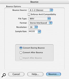 You can Bounce To Disk using different sample–rate and bit-depth settings from those of your actual mix.