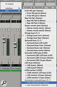 Paths and sub-paths created in the I/O Setup window appear as routing options in the Pro Tools mixer.
