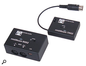 The Panda Audio MidiBeam receiver (left) and transmitter (right).