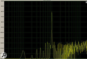 This graph is taken from iZotope's 'Dithering with Ozone' guide, available from www.izotope.com/products/audio/ozone/guides.html (a good read, even if you don't own Ozone). The graph shows the distortion (the tall spike) acquired by a recording of a sine wave when converted from 24-bit to 16-bit resolution without dithering.