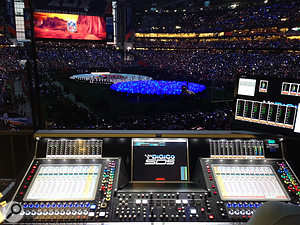 The mix position for Katy Perry's hugely successful Superbowl half-time show. Keppler now uses a  DiGiCo SD5 loaded with Waves plug-ins, among others.