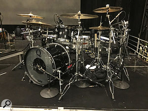 The drum setup for Katy's live show. Keppler uses AKG D12VRs on the kick and floor tom, a  Telefunken M80 on the snare, and a  combination of AKG C451s and DPA 4099s on cymbals.
