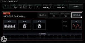 The dedicated AS-1 control page on the Toraiz SP-16 sampler.